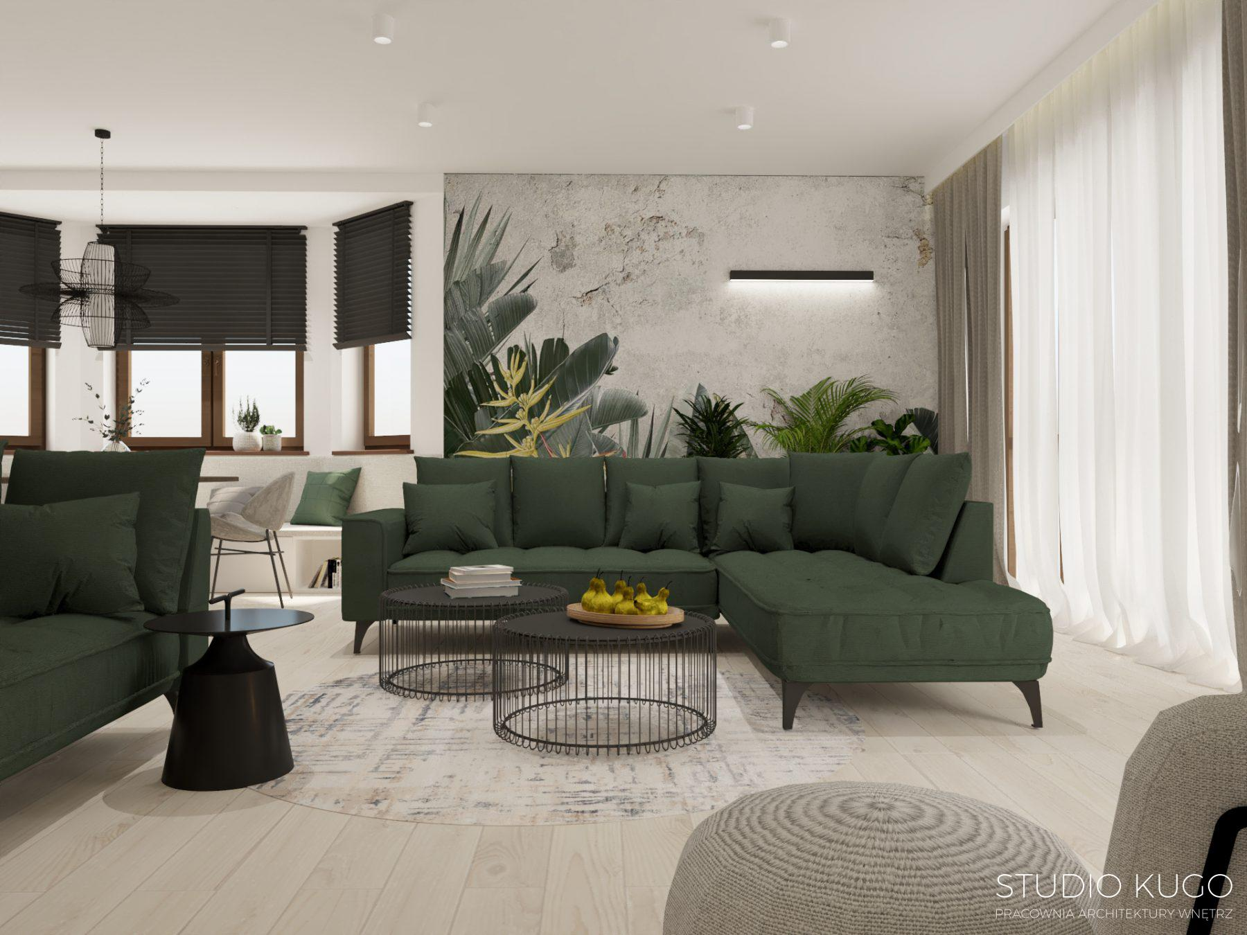 Salon w kolorach ziemi z zieloną sofą i leżanką